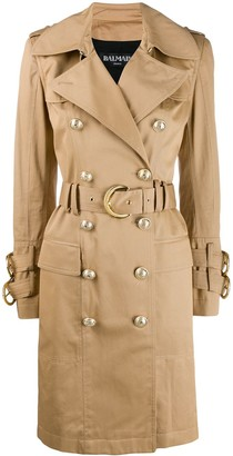Balmain Double-Breasted Belted Trench Coat