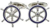 Tiffany & Co. 925 Sterling Silver Blue Enamel Ships Wheel Cufflinks