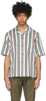 Acne Studios White and Burgundy Striped Short Sleeve Shirt