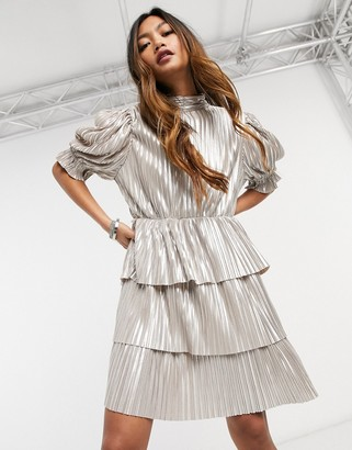 Forever U metallic tiered mini dress in champagne