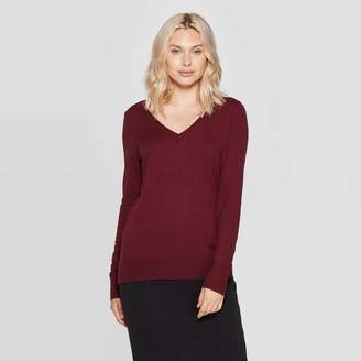 A New Day Women's Long Sleeve Ribbed Cuff V-Neck Pullover Sweater
