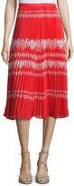 Self-Portrait Pleated Flower Spell Midi Skirt, Red/Cream