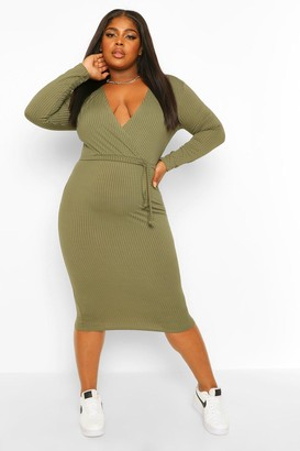 boohoo Plus Soft Rib Wrap Mini Dress