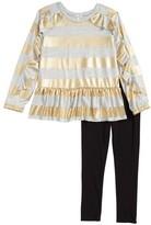 Splendid Toddler Girl's Foil Stripe Tee & Leggings Set