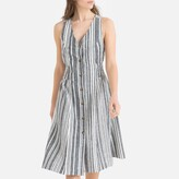 La Redoute Collections Striped Linen/Cotton Midi Dress with Bow at Back