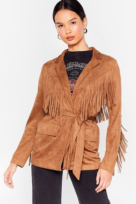 Nasty Gal Womens Faux Suede for Each Other Fringe Belted Jacket - Black - S