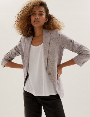 Marks and Spencer Linen Single Breasted Blazer