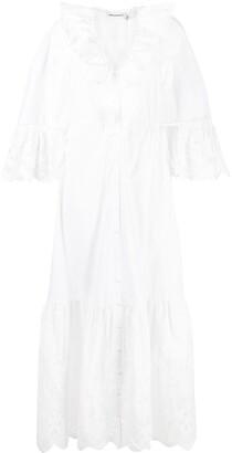Self-Portrait Lace-Panelled Long Shirt Dress