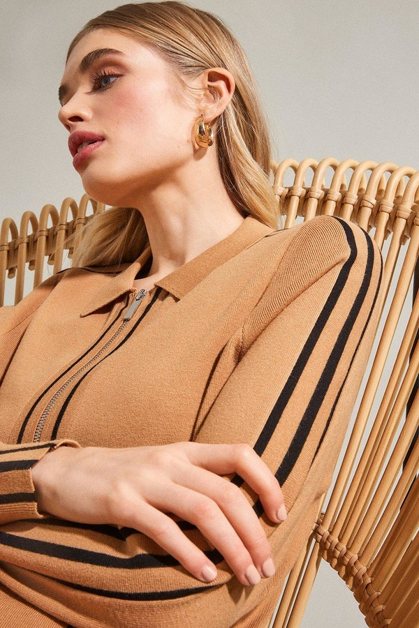 Karen Millen Stripe Trim Milano Zip Through Cardigan