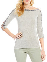 Jessica Simpson Dia Embroidered-Sleeve Fitted Top
