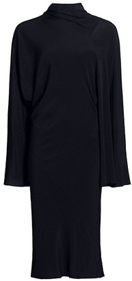 Rick Owens Seb Stretch-Silk Asymmetric Wide-Sleeve Dress