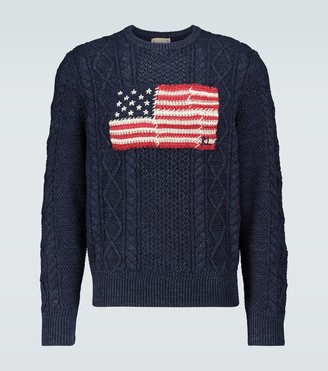 Polo Ralph Lauren Aran patchwork-flag jumper