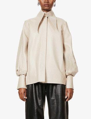 16Arlington Manika puffed-sleeve leather shirt
