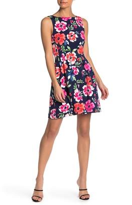 Vince Camuto Neon Floral Print Scuba Fit & Flare Dress (Petite)