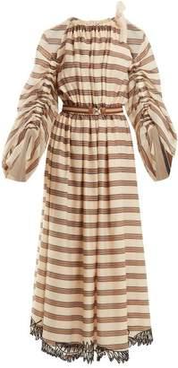 Fendi Striped Cotton-blend Dress - Womens - Beige Multi