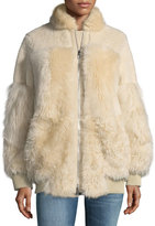 Theory Zip-Front Reversible Shearling Patchwork Coat