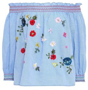 Joie Off-the-shoulder Embroidered Cotton-chambray Top