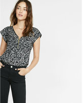 Express floral print cut-out zip front blouse