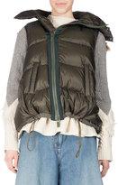 Sacai Puffer Vest w/Faux-Fur Trim, Khaki