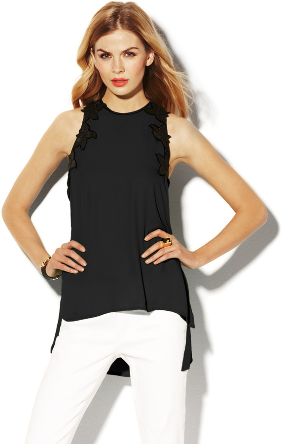 Vince Camuto Lace Border Tank