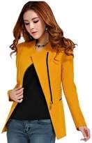 ACEFAST INC Womens Metal Zip Skinny Jackets long Sleeve Blazer Suit Coat Overcoat