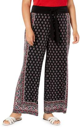 INC International Concepts Plus Border-Print Tie-Waist Pants