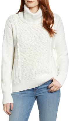 Caslon Cowl Neck Boucle Sweater (Petite)