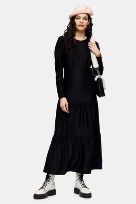 Topshop Womens Black Long Sleeve Tiered Midi Dress - Black