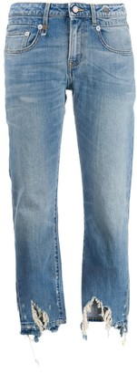 R 13 Distressed Straight-Cut Jeans