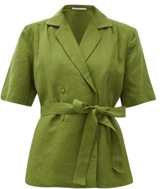 Emilia Wickstead Eudora Belted Linen Blouse - Womens - Khaki