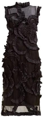 4 Moncler Simone Rocha - Ruffled Tulle Midi Dress - Black