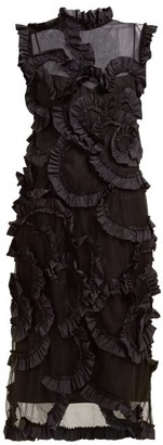 Simone Rocha 4 Moncler Ruffled Tulle Midi Dress - Womens - Black