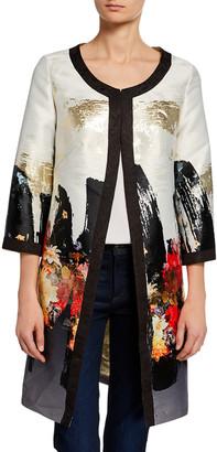 Berek Plus Size Abstract Floral Long Dressy Jacket