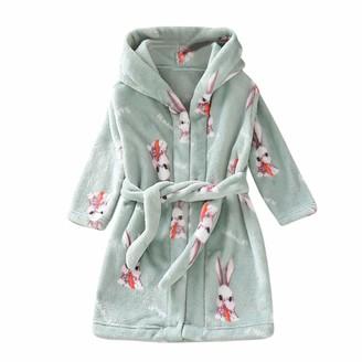 Wanshop A Wanshop Kids Bathrobes Hooded Flannel Soft Bathrobe for Girls Children Pajamas Sleepwear Dressing Gowns (5-6 Years