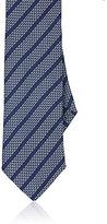 Barneys New York Men's Basket-Weave Silk Necktie-GREY
