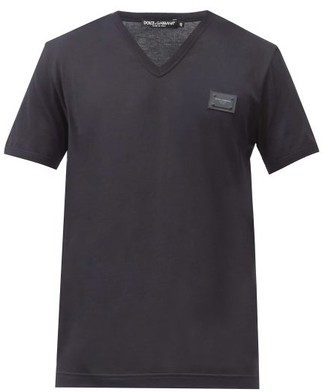 Dolce & Gabbana Logo-plaque V-neck Cotton-jersey T-shirt - Navy