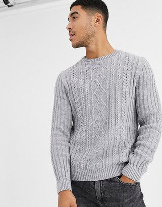 Asos Design DESIGN knitted cable knit sweater in light gray twist