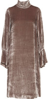 See by Chloe Smocked Velvet Dress - Antique rose