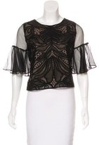 Alexis Embroidered Silk-Accented Top