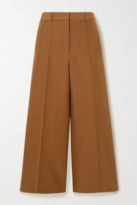 Victoria Victoria Beckham Cropped Cotton-blend Twill Wide-leg Culottes - Camel
