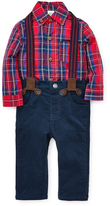 Little Me Red Plaid Woven Shirt, Pants, & Suspenders Set (Baby Boys)