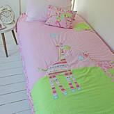 Marquis & Dawe Girls Pink Giraffe Cotton Bedspread