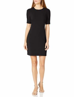 Lark & Ro Amazon Brand Women's Fluid Stretch Crepe Puff Half Sleeve Crew Neck Dress
