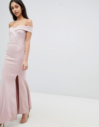 Lipsy Fishtail Maxi Dress With Sequin Lace Trim-Pink