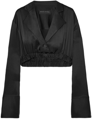 Michael Lo Sordo Cropped Silk-satin Top