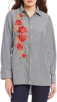 Cupio Button Front Embroidered Blouse