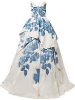 Monique Lhuillier Strapless Printed Silk Gown - White