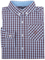 Andy & Evan Long-Sleeve Gingham Poplin Shirt, Maroon Red, Size 2-7