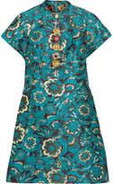 Dolce & Gabbana Embellished Metallic Jacquard Mini Dress - Blue