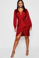 boohoo Plus Disco Slinky Twist Front Wrap Dress